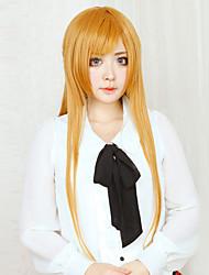 Perucas de Cosplay Sword Art Online Asuna Yuuki Dourado Extra Longo Anime Perucas de Cosplay 80 CM Fibra Resistente ao Calor Feminino