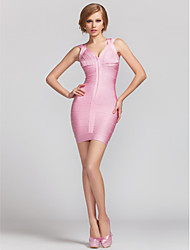 Cocktail Party Dress - Candy Pink Sheath/Column V-neck Short/Mini Rayon