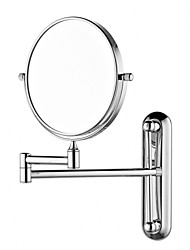 Round 8 polegadas Latão de parede ajustável Espelho acabamento cromado