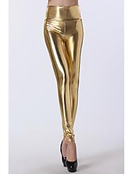 Legging das mulheres Ouro Laca (Busto :86-102, Cintura :58-79, Hip :90-104, Comprimento: 95cm)