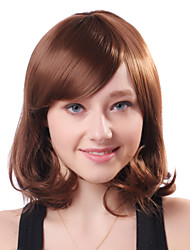 Capless Short Brown Wavy High Quality Synthetic Japanese Kanekalon Side Bang Wigs