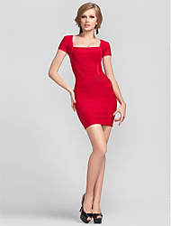 Cocktail Party Dress - Ruby Sheath/Column Square Short/Mini Rayon