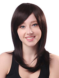 Capless Long Brown Straight 100% Human Hair Side Bang Wigs