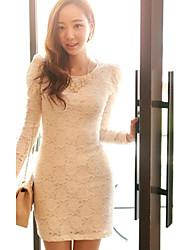 Women's Lace Puff Sleeve Bodycon Dress