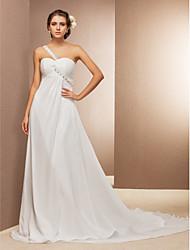 lanting mariée une ligne / princesse petite / tailles plus robe de mariage train-cour d'une mousseline épaule