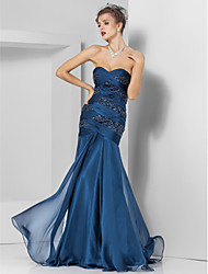Formal Evening/Prom/Military Ball Dress - Dark Navy Plus Sizes Trumpet/Mermaid Sweetheart/Strapless Floor-length Chiffon