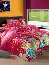 Modern Colorful Floral Velvet Full 4-Piece Duvet Cover Set