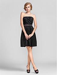 Cocktail Party Dress - Black A-line/Princess Strapless Short/Mini Taffeta