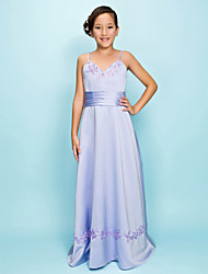 A-line V-neck Floor-length Satin Junior Bridesmaid Dress
