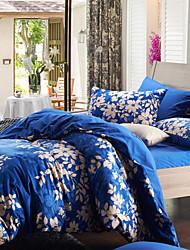 Morden flanela Folha Azul Full / Queen / King Duvet Cover de 4 peças Conjunto