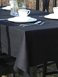 Black / Green / Red / Off-white Linen Rectangular Table Cloths