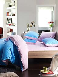 4 peças morden luz azul / lilás sólida flanela conjunto de capa de edredon