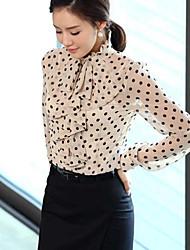 Women's Polka Dots Shirt with Ruffles