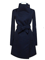 Lady Fashion Wide Lapel Woolen Coat
