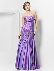 Mermaid / Trumpet Strapless Floor Length Taffeta Prom Dress with Beading by TS Couture®