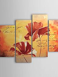 Peint à la main A fleurs/Botanique Quatre Panneaux Toile Peinture à l'huile Hang-peint For Décoration d'intérieur