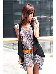 Women's Solid/Striped Black Vest