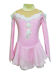 Skating wear / skating dress Dumb Light Spandex Elasticated Net Silk Flowers Figure Skating Clothing Pink