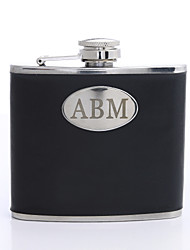 Gift Groomsman Personalized Simple Black 5-oz Flask