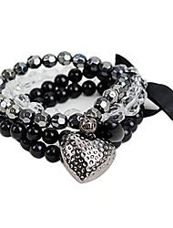 Spades Heart Bow Bead Bracelet