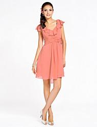 Cocktail Party / Homecoming / Wedding Party Dress - Watermelon Petite Sheath/Column V-neck Knee-length Chiffon