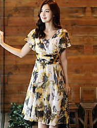 Women's Beach Dress,Floral Knee-length Short Sleeve Summer