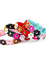 Cat Dog Collar Adjustable/Retractable Flower Red Black Blue Pink PU Leather