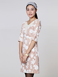 Women's Floral A Line Dress , Round Neck Polyester