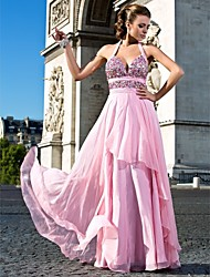 vestidos de uma linha querida cabeçada do assoalho-comprimento chiffon de noite / baile de finalistas
