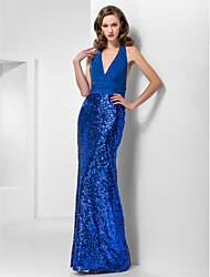 TS Couture Formal Evening / Prom / Military Ball Dress - Royal Blue Plus Sizes / Petite Trumpet/Mermaid Halter / V-neck Floor-lengthChiffon /