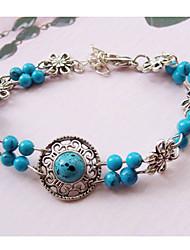 Damen Silver Hollow Flowers Light Blue Balls Bracelet