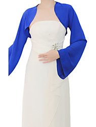 Wedding  Wraps Coats/Jackets Long Sleeve Chiffon As Picture Shown Wedding / Party/Evening Bell Sleeves Open Front
