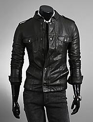 Men's Long Sleeve Casual Jacket Solid Brown