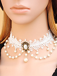 Women's Gothic Layered White Lace Little Pearl Necklace