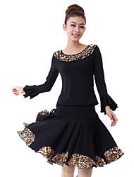 Dancewear Viscose Leopard Printed Latin Dance Outfits Top und Rock für Damen