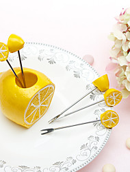 5 Piece Fruit Fork Set In Fresh Lemon Holder