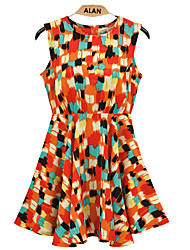 Women's Geometric Skater Dress , Round Neck Polyester