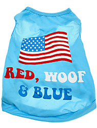 Dog Shirt / T-Shirt Blue Dog Clothes Summer National Flag / American/USA