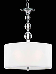 60W Contemporary Pendant Light with 3 Lights and Acrylic-Fabric Shade
