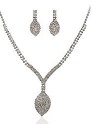Shining Czech Rhinestones Alloy Plated Wedding Bridal Jewelry Set,Including Necklace And Earrings