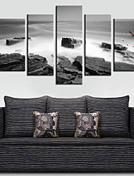 Modern Mountain in the Mist Wall Clock in Canvas 5pcs
