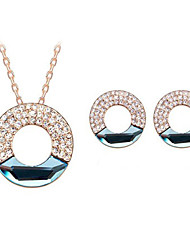 Mujer Mujer Diamond Hollow Circle Set Pendientes Collar
