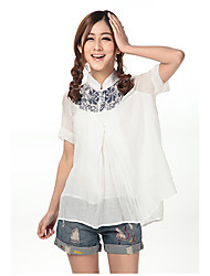 Soulsky Lapel Collar Ruffle Chiffon Shirt