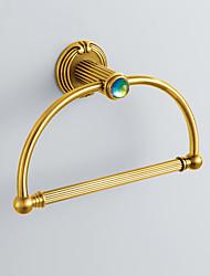 Cristal Style antique coloré décoré Ti-PAD Fini Laiton Anneau Curved Towel Ring