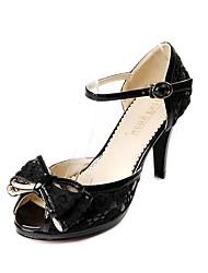 Damenschuhe - Sandalen / High Heels - Kleid - Kunstleder - Stöckelabsatz - Zehenfrei - Schwarz