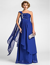 A-line Plus Size / Petite Mother of the Bride Dress - Floor-length / Watteau Train Sleeveless Chiffon