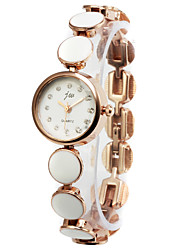 Elegant Alloy Round Glass Quartz Women's Watch