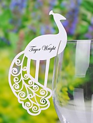 Place Cards and Holders Pretty Peacock Place Card For Wine Galss (Set of 12)