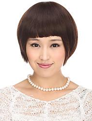 Capless 100% Human Hair Brown Straight Short Hair Wig