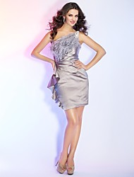 Cocktail Party / Holiday Dress - Short Sheath / Column One Shoulder Short / Mini Satin with Feathers / Fur / Side Draping